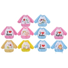 Baby Bibs Waterproof Long Sleeve Burp Cloths Feeding Apron Cute Infant Clothing -P101