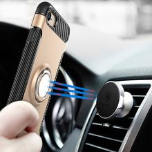 For iPhone 6 6S 7 7 Plus Car Holder Stand Magnetic Suction Bracket Finger Ring Soft TPU Cover for iPhone8 8 Plus(China)