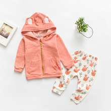 2Pcs Baby Boy Girl Clothes Spring Autumn 2017 New Cartoon Fox Newborn Baby Girl Clothing Hooded Clothes+Pants 0-2 Years Suit J02