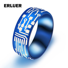 ERLUER European Blue Black Gold Color Ring Jewelry Men's Stainless Steel Circuit Board Pattern Band Rings For Men Drop shipping