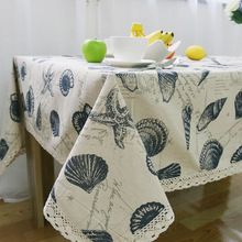 Simanfei Hot 2017 New Arrivals Simple Shells Home Fabric Fresh Coffee Table Tablecloth Linen and Cotton Dust-proof Tables Cloth