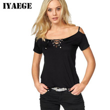IYAEGE Summer Beach Sexy Strap Off Shoulder Tops Tee Shirt Women O-Neck Lace Up Basic T-Shirt Casual Short Sleeve Cotton T Shirt