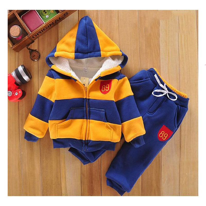 2017 New Hooded 2pcs Children Clothes Set Casual Stripe Long Sleeve Tops + Pants Kids Clothing Set For Girls Boys Coat<br>