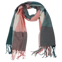 Ladies Oversized Autumn Winter Classic Checked Scarf Long Soft Wraps Big Scarf Pink + Green