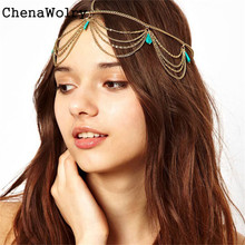 ChenaWolry 1PC New fashion design Wonderful Gift Women Head Turquoise Chain Jewelry Headband Party Headpiece Hair Band Oct 11