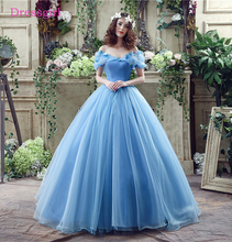 Royal Blue Vestido De Noiva 2017 Wedding Dresses Ball Gown V-neck Cap Sleeves Organza Boho Cheap Wedding Gown Bridal Dresses(China)