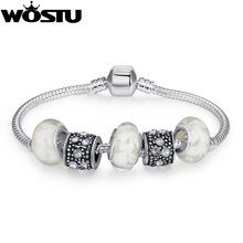 European Style Cheap Silver Charm Bracelets With Murano Glass Beads Handmade Silver jewelry XCH1374(China)