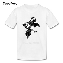 Crow T Shirt Baby Pure Cotton Short Sleeve O Neck Tshirt Children Tee-shirt 2017 Best Selling T-shirt For Boys Girls