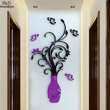 Homdox DIY 3D Flower Vase Art Home Room Office Decoration Mirror Wall Stickers Adesivo De Parede Wallsticker #30-25