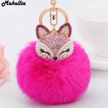 Artificial Rabbit Fur Ball Keychain for Handbag Car Key Ring Cute Fox Inlay Simulated Pearl Pendant Key Chains Amazing(China)