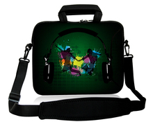 "Neoprene Headphone Pattern 10""13""14""15""17'' Computer Handle Carring Cover Forder Netbook Shoulder Messenger Bag For Toshiba HP(China)"