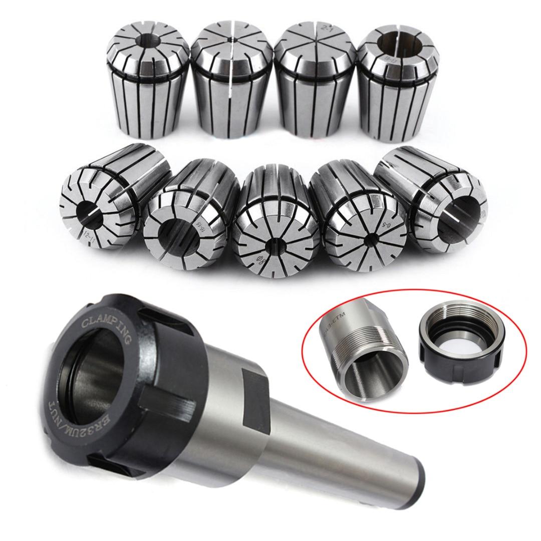 1pcs MT3 M12 ER32 Collet Chuck Morse Taper Holder + 9pcs ER32 Spring Collets CNC Milling Lathe Tool