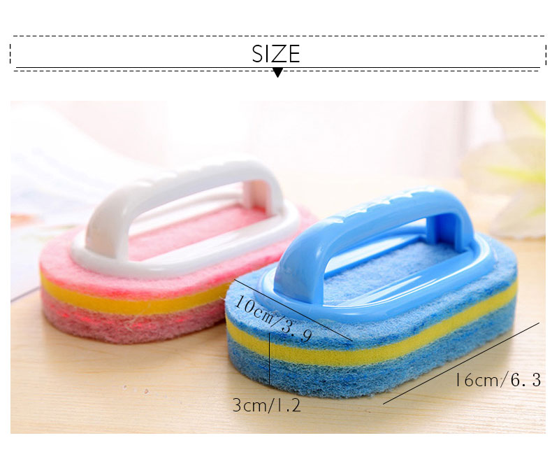 Kitchen Cleaning Bathroom Toilet Kitchen Glass Wall Cleaning Bath Brush Plastic Handle Sponge Bath Bottom 6
