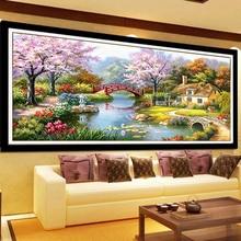 Пейзаж хлопок шелк Нитки DMC вышивки крестом Наборы 100% печатных Вышивка DIY ручной рукоделие стены Домашний Декор(China)