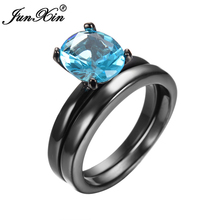Promotion Oval Light Blue Black Gold Filled CZ Double Wedding Ring Vintage Wedding Bands For Couple Aneis Feminino(China)
