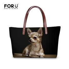 FORUDESIGNS Brand Fashion Women Handbags Casual Tote Cute 3D Chihuahua Dog Women's Shoulder Bags Messenger Tote Bolsas Feminine(China)