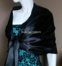 2016 New Formal Black Satin Shawl/Wrap/Stole/Bolero/Pashmina/Scarf/Tippet/Jacket Bridal Accessories Real picture
