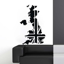 UK Map Poster Decal Posters Art Vinyl Wall Decals Pegatina Quadro Parede Decor Mural UK Map Sticker(China)