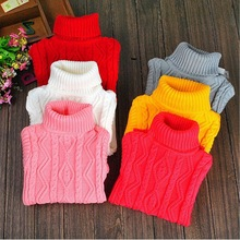 baby sweater boy pullover meninos turtleneck 2015 winter children girls white black pink red clothing teenage clothes size 12(China)