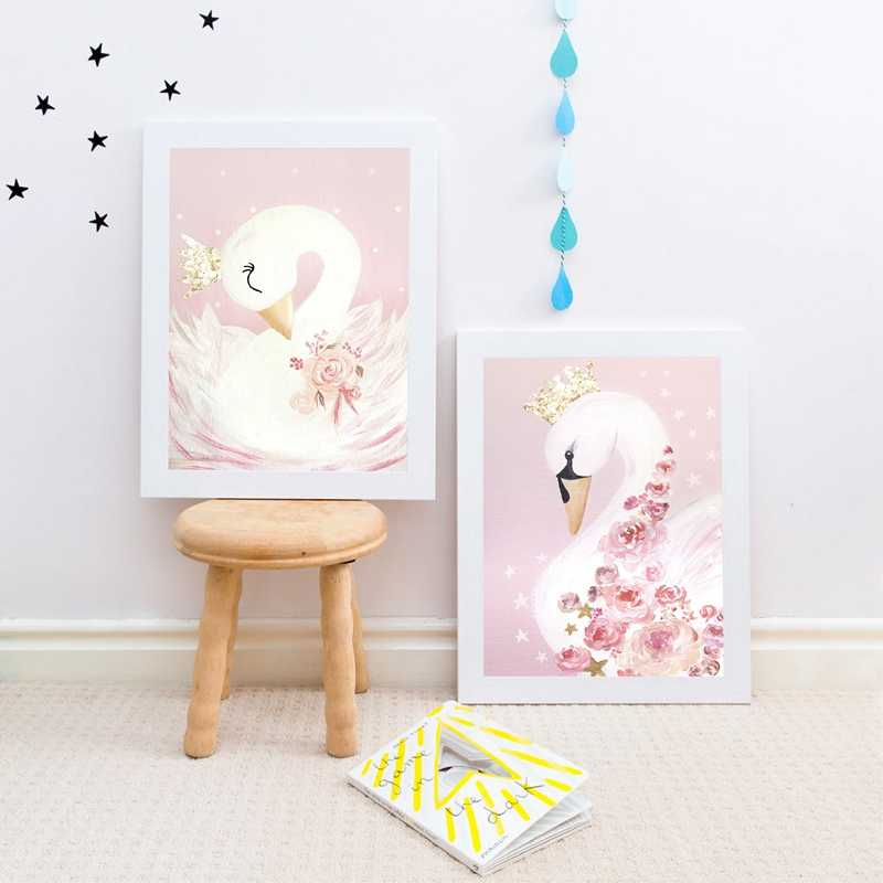 Swan Princess Posters Canvas Painting Baby Girls Room Wall Art Prints Nursery Decorative Pink Picture Kids Girl Room Decoration