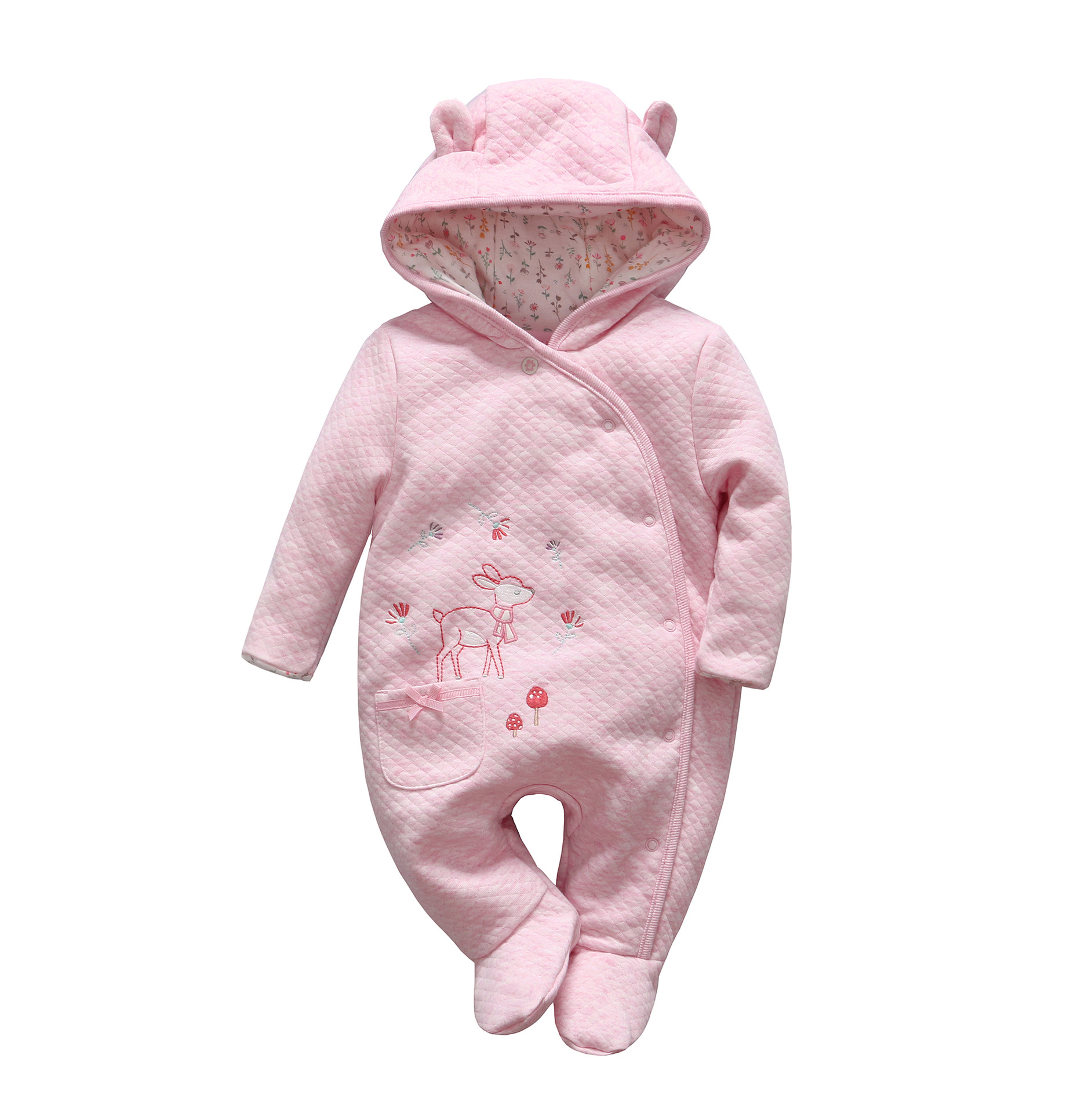 2018 Baby Clothes Newborn Baby Girl Winter Clothing Baby Thickening Cotton Animal Rompers Newborn Floral Hooded Jumpsuit<br>