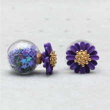 2015 new design fashion brand elegant Daisy jewelry double Imitation pearls stud earrings for women big beads Flowers earings