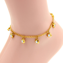 New gorgeous gold vacuum plated,  stainless steel shiny crystal jewelry, lobster clasp flower bracelet and bangle anklet