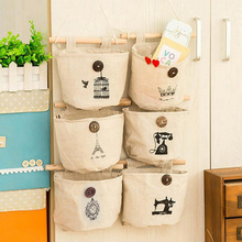 New Cute Cotton Fabric Storage Bag For Wall Handing Organizer Bag Vintage Clothing Storage Bag Home Decoration Free Shipping 231