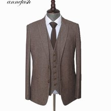 Mens Suit Tailored Tweed Custom-Made British-Style Plus-Size Brown Woolen Herringbone