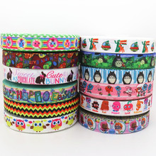 7/8'' Free shipping easter cat cartoon printed grosgrain ribbon hairbow headwear party decoration diy wholesale OEM 22mm S37
