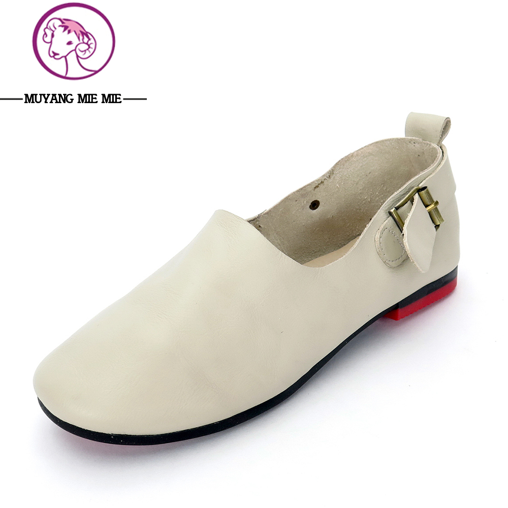 MUYANG MIE MIE Spring Women Flats 2017 Fashion Genuine Leather Flat Shoes Woman Soft Casual Loafers Women Shoes Plus Size 35-41<br>