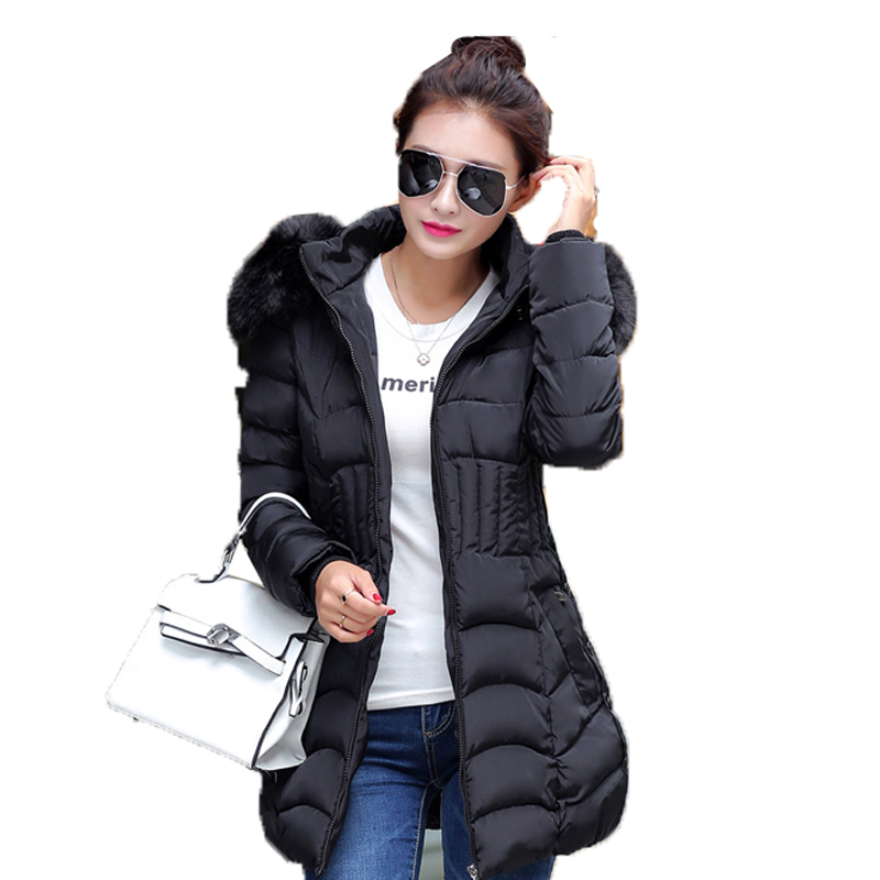 Solid Slim Winter Jacket Womens Jackets and Coats Faux Fur Collar Hood Plus Big Yards 4XL Cotton Wadded Thick Warm A0218Îäåæäà è àêñåññóàðû<br><br>