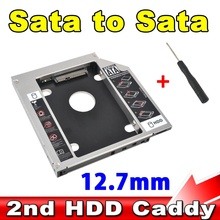 "2.5"" Aluminum Universal SSD HDD HD Hard Disk Driver External 2nd Caddy SATA 3.0 Case Enclosure for 12.7mm CD DVD ROM Optical Bay"