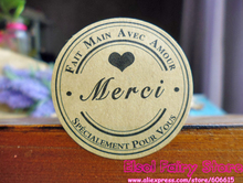 "Wholesale 1200pcs French ""Merci""  Round Kraft Seal Sticker,  ""Fait main "" Paper Sticker For Party Favor Gift Bag Candy Box Decor"