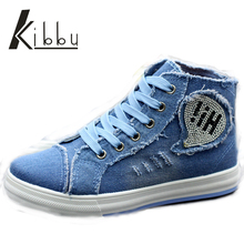 Student Cowboy Boots High Canvas Shoes Women Denim Blue Female Diamond Bling Casual Shoes