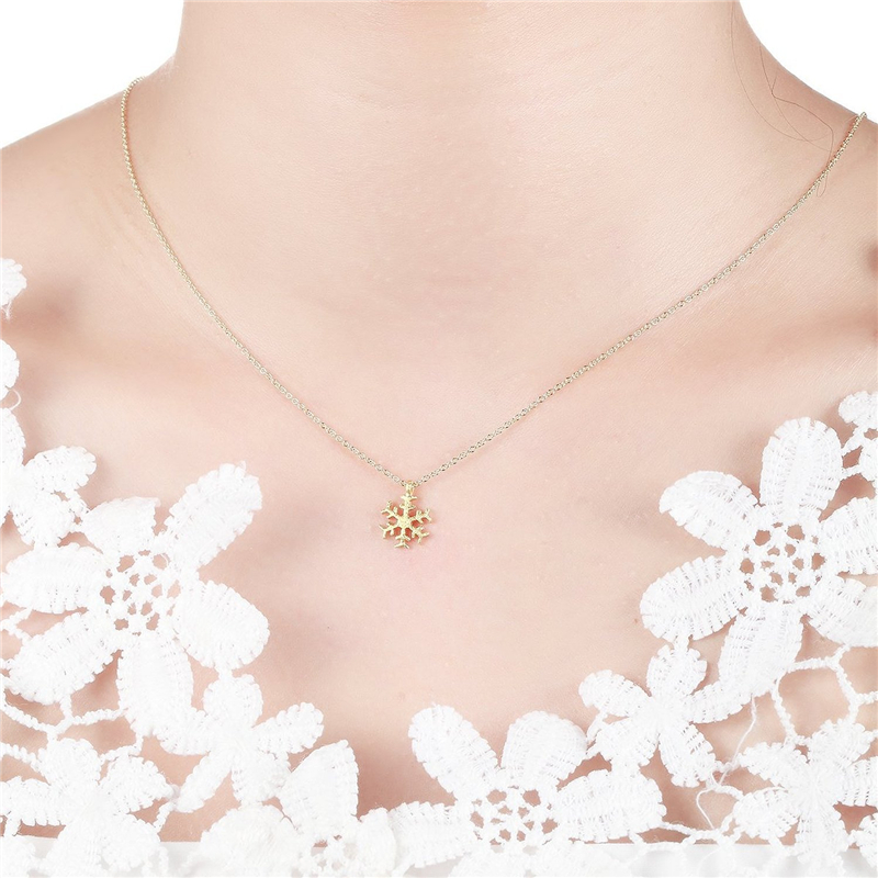 snowflake necklace pendants chain long
