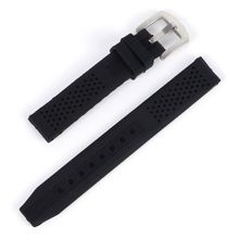 Men Casual Watch Band Soft Silicone Rubber Waterproof Wrist Watch Band Strap 18-24mm Black