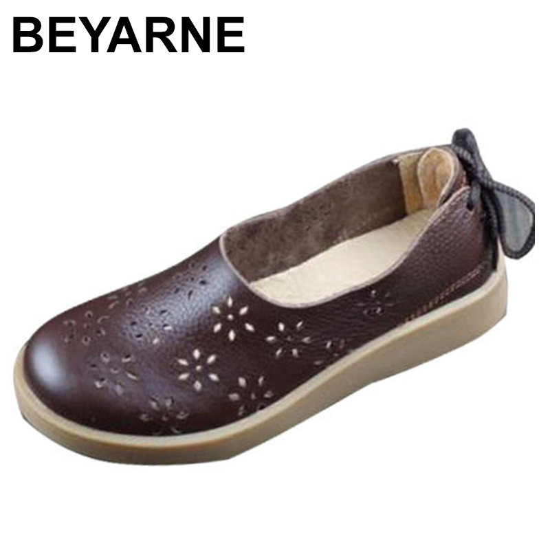 BEYARNE Women Shoes Flat Hollow Out Breathable Summer Shoes 100% Authentic Leather Round toe Slip On Flats Female Footwear <br>