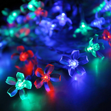 Peach Flower 50 LEDs Solar String Lights Christmas Party Wedding Decoration Lighting Lamp Waterproof Light-emitting diode tape