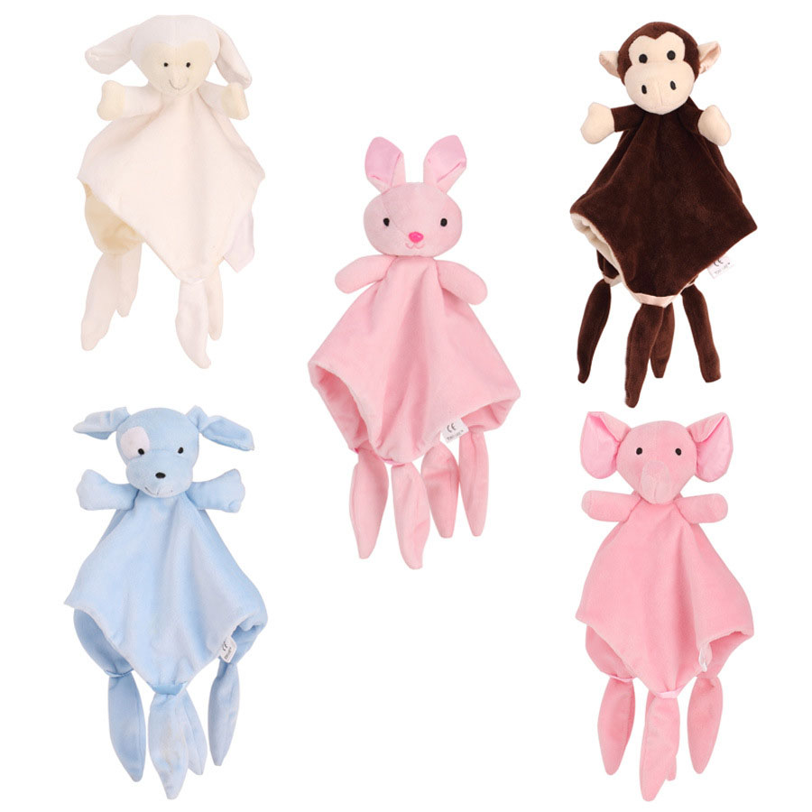 Infant Bear Doll Appease Towel Doll Baby with Ring Teethers Baby Lovely Toys Newborn Baby Sleep Towel