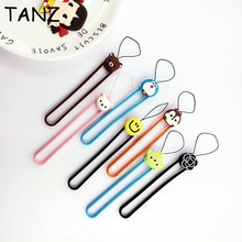 Cute Cartoon Soft Silicone wrist hand cell phone mobile chain straps keychain Charm Cords DIY Hang Rope Lariat Lanyard(China)