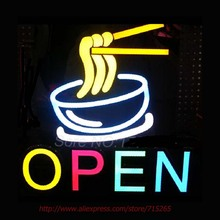 OPEN NOODLE Bowl Neon Sign Handcrafted Neon Bulbs Indoor Real GlassTube advertise Impact Club Decorate Store Display Fast 17x17(China)