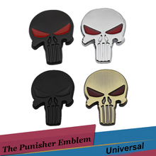 The Punisher 3D Skull Metal Emblem Car Styling Motorcycle SUV Truck Body Decoration Stickers For Mercedes BMW e46 Cadillac Saab(China)