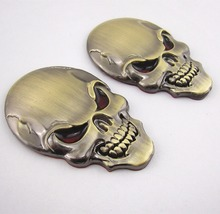 Car-styling detector Skull Head Emblem Car SUV Fenders Tank Cover Bronzed Metal 3D Sticker Badge decals bmw toyota - Auto accessories Mall Co.,Ltd store