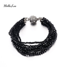 Hot Multi-layer Elastic Bracelets & Bangles Black Silver Color Disco Ball Bracelet Magnetic Snap Pulseira Femininas gifts(China)