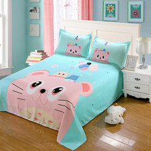 1.5mx2.3m Size Cartoon Bed Sheet Set Comfort Fabric Polyester Bed Sheet+2 Pillowcases Bedding Set Good Gift  Free Shipping