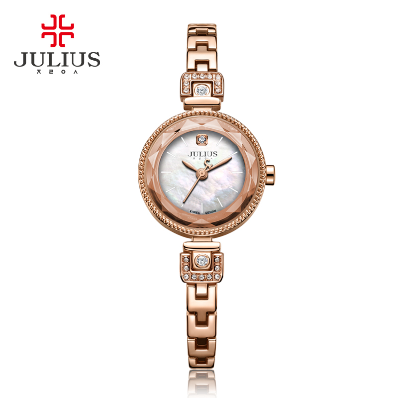 Julius Womens Watch Japan Quartz Fashion Hour Lady Clock Mother Of Pearl Chain Bracelet Top Girl Valentine Birthday Gift Box <br>