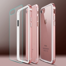 Roybens Metal Frame Case For iPhone 7 Plus Aluminum TPU Hybrid Bumpers + Transparent Panel Hard PC Back Cover For iPhone 6 6S