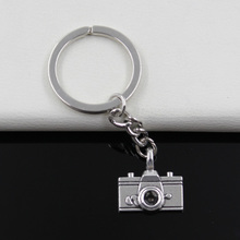Fashion diameter 30mm Key Ring Metal Key Chain Keychain Jewelry Antique Silver Plated camera 22*21mm Pendant
