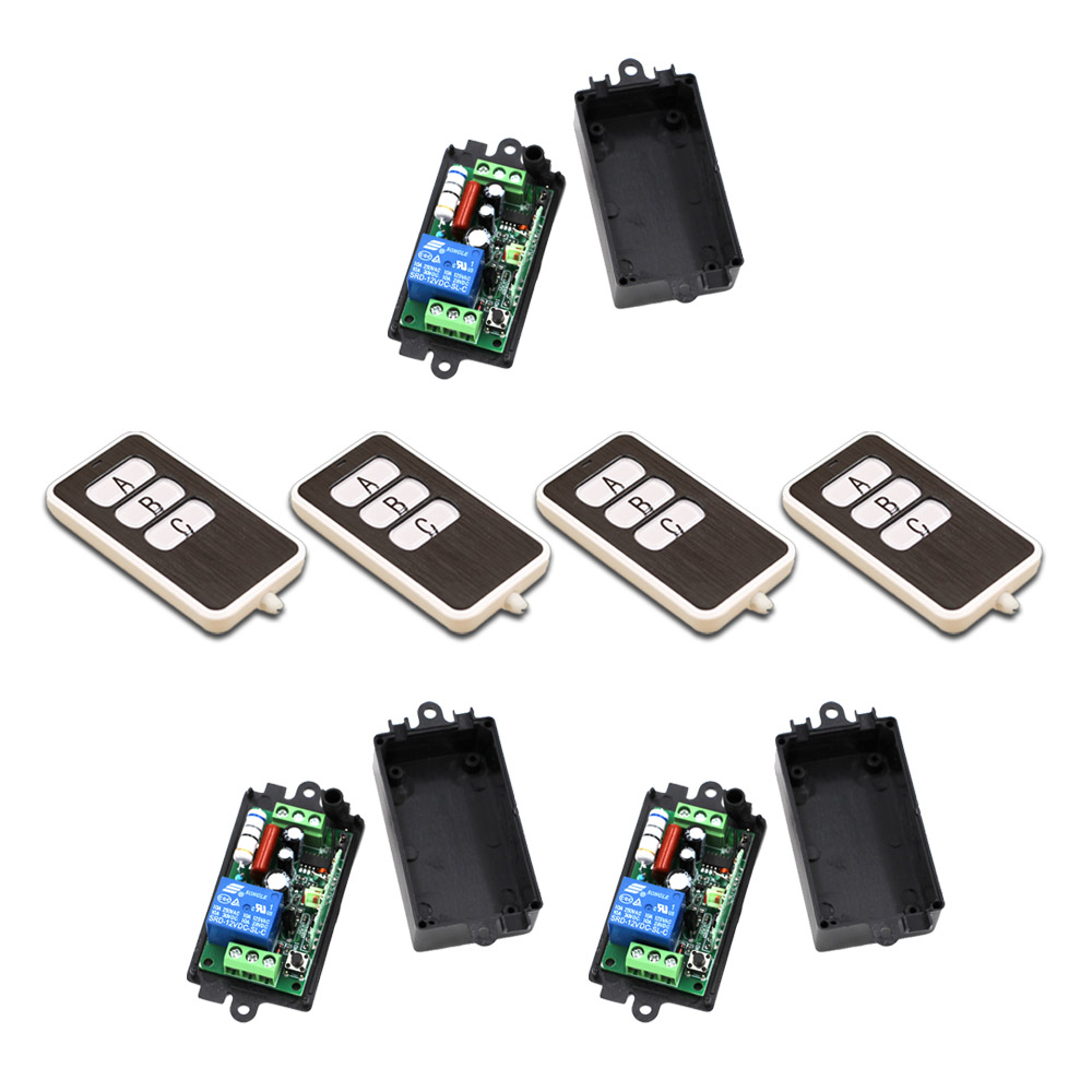 Square 110V 220V 1CH RF Wireless Remote Control Switch System 4Transmitter and 3Receiver 315/433MHZ<br>